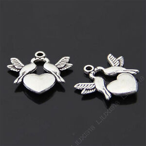 10x Charms Heart Love Birds Pendant Beads Jewellery Crafts Tibetan Silver /S762