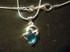 """beautiful heart shape cz crystal in sterling 925  with 20"""" 925 sterling snake"""