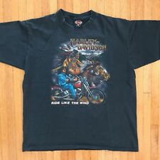 VTG 80s HARLEY DAVIDSON RIDE LIKE THE WIND 3D EMBLEM T-SHIRT SZ XL 1980s INDIAN