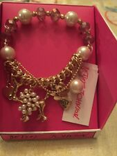 $35 Betsey Johnson Gold Tone Poodle Pearl Charm Bracelet #1