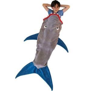 Kids Shark Mermaid Tail Cosy Fleece Blanket Snuggle-in Sleeping Bag Jaw Top AN