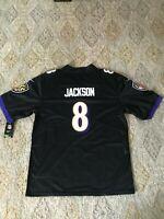 Men's Baltimore NFL Ravens #8 Lamar Jackson Stitched Black Jersey Size Large
