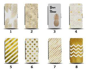 White and Gold Flip Wallet Case Golden Pineapple Stripes Print Animal Skin 8115a