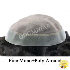 Mono Mens Toupee Poly Skin Pu Hairpiece Black Human Hair Replacement System Wig