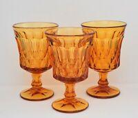 VINTAGE AMBER GLASS SET OF 3 WINE WATER GOBLETS
