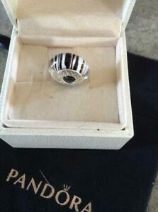 "~Pandora S925 ALE ""Black and White Zebra""  Murano Charm~"