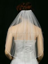 1T White Shoulder Short Rattail Edge Bridal Wedding Veil