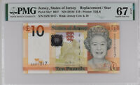JERSEY 10 POUNDS 2010 P 34 a* Replacement SUPERB GEM UNC PMG 67 EPQ TOP POP