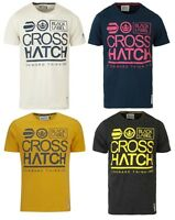 New Crosshatch Mens Printed T-Shirt Large Go Branded Slim Fit Print Top S M L XL