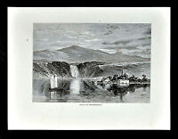 1872 Picturesque America Print - Montmorency Falls - Quebec Canada Waterfall