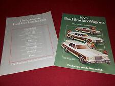 1975 FORD 12-p. STATION WAGONS BROCHURE: LTD TORINO PINTO + 75 FULL LINE CATALOG