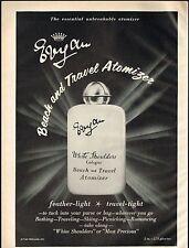 1960s Vintage Evyan White Shoulders Perfume Cologne Atomizer Bottle Print Ad