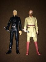 "2 Large Star Wars Obi-Wan Kenobi & Luke 12"" Action Figure 2013 Hasbro"