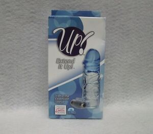 Up Extend It Up Blue Vibrating Sleeve Penis Clitoral Stimulation Phthalate Free
