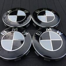 4x 68mm BMW Emblem, schwarz weiss, Nabendeckel Felgendeckel Nabenkappen BMW NEU