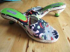 EMILIO PUCCI Kitten Heel Slides Retro Print 37 6.5 7