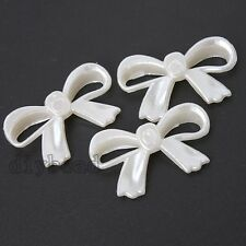 50pcs Hotsale Acrylic White Hollow Bowknot Spacer Beads Fit Jewerly Findings J