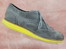 Cole Haan Lunargrand Yellow Gray Suede Wingtip Casual Oxford Fashion Men's 10.5