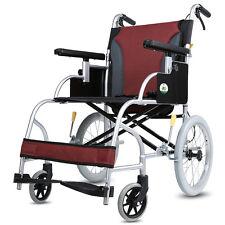 EXCELLENT Lightweight Aluminum Transport Chair Folding Mobility 16'' Wheel chair