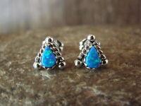 Zuni Jewelry Sterling Silver Blue Opal Triangle Post Earrings! Pincion