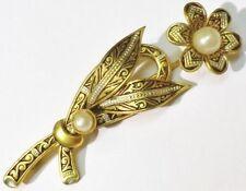 broche bijou vintage fleur style or de tolède perle nacrée *4842