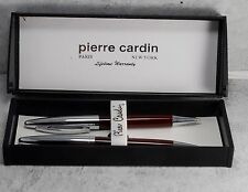 Pierre Cardin Red & Chrome Ballpoint Pen And Mechanical Pencil Set NIB w Damage