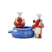 Crawfish Chefs in Pot Ceramic Salt & Pepper Shakers with Holder Set
