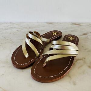 TORY BURCH Solid Metallic Gold Thong Sandal - US 8