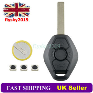For BMW 3 5 Series E46 E90 E39 E60 X5 X3 3 Button Key Case Fob + LIR2025 Battery