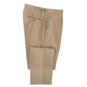 Mens Beige Mohair Plain Front Suit Trousers  Wedding / Formal / Smart