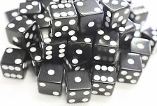 """WHOLESALE LOT OF 50 BLACK DICE WHITE PIPS 6 SIDED D6 DIE GAME SIX 5/8"""" 16mm"""