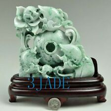 A Grade Natural Jadeite Jade Lotus Koi Fish Statue Carving  w/ certificate