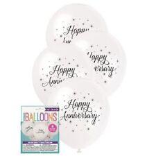 Latex Happy Anniversary Balloons White 30cm 8ct. Unique Industries