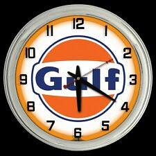 "16"" GULF OIL New Style Logo Sign Neon Clock Chrome Finish"