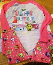 Girls Shopkins Happy Holidays Christmas 2 Piece Pajamas Set~LS Shirt & Pants- 4