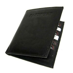 BLACK COWHIDE LEATHER PASSPORT COVER Travel Document Bifold Wallet