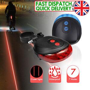 Bicycle 5 LED 2 Laser Bike light 7 Flash Mode Cycling Safety Bicycle Rear Lamp