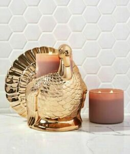 Bath & Body Works 2021 GOLD TURKEY Candle Pedestal Holder - SOLD OUT -New In Box