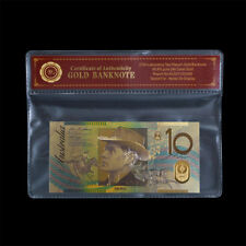 WR Australia $10 Dollar Colour Gold Banknote Collectable Polymer Note In Sleeve