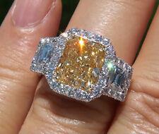 2.97Ct Halo Canary Cushion Cut & Trapezoid Diamond Plat Engagement Ring SI2 GIA