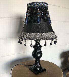 BLACK WITH SILVER GLITTER BLUE BEADED/MACRAME/TASSLE TABLE LAMP