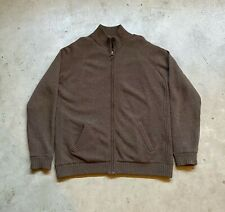 Barbour Hilltop Zip Through Lambswool Sweater Leather Brown XXL