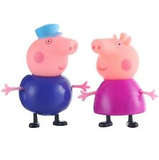 2 Peppa Pig Figuren PVC Schweine Oma Opa Wutz Grandma Grandpa Figures Set 9 cm