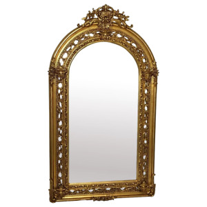 Huge French Napoleon III Style Garland Crown Sphinx Gilt Pier Glass Wall Mirror