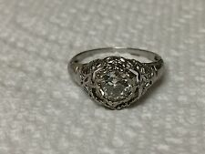 Vintage 14K Art Deco Filigree Old Mine Cut Solitaire Diamond Engagement Ring WOW