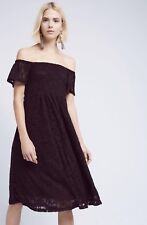 NWT Anthropologie HD in Paris black Lace Off The Shoulder Ruched Swing Dress S