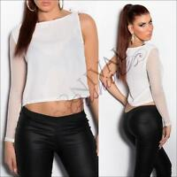 SEXY ONE SLEEVE CROP TOP XS S WOMENS SHIRT LOOSE BLOUSE SUMMER shoulder TOPS AU