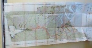 1910 Antique Map Puget Sound Basin Washington Olympia Montesano 51X24 #4235