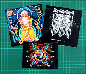 HAWKWIND, set of 3 large Glossy Vinyl Stickers, Doremi, In Search of Space etc