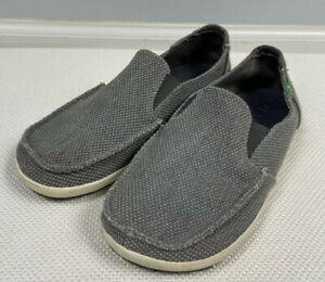 Sanuk Shoes 8 Gray Canvas Sidewalk Surfer Slip On Sneaker Casual